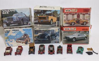 6 boxed model cars by Polistil including Lancia Beta, Lancia Fulvia, Volvo 164E, Porsche Carrera,