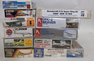 A collection of 16 model kits ofll, light aircraft, all believed to be complete and some in sealed