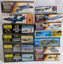 Collection of 13 model aircraft kits, all l:72 scale, mostly military jet planes, all believed to be