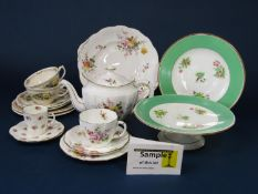 A collection of Royal Crown Derby - Derby Posies pattern tea wares comprising teapot, milk jug,