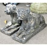 A matched pair of small reclaimed garden ornaments in the form of recumbent boxer dogs, 40cm long