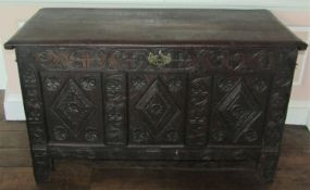 18th century carved oak coffer with adapted fall front