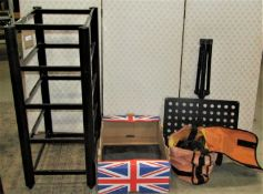 A Sound Style five tier floorstanding two sectional coated steel hifi equipment stand with tubular