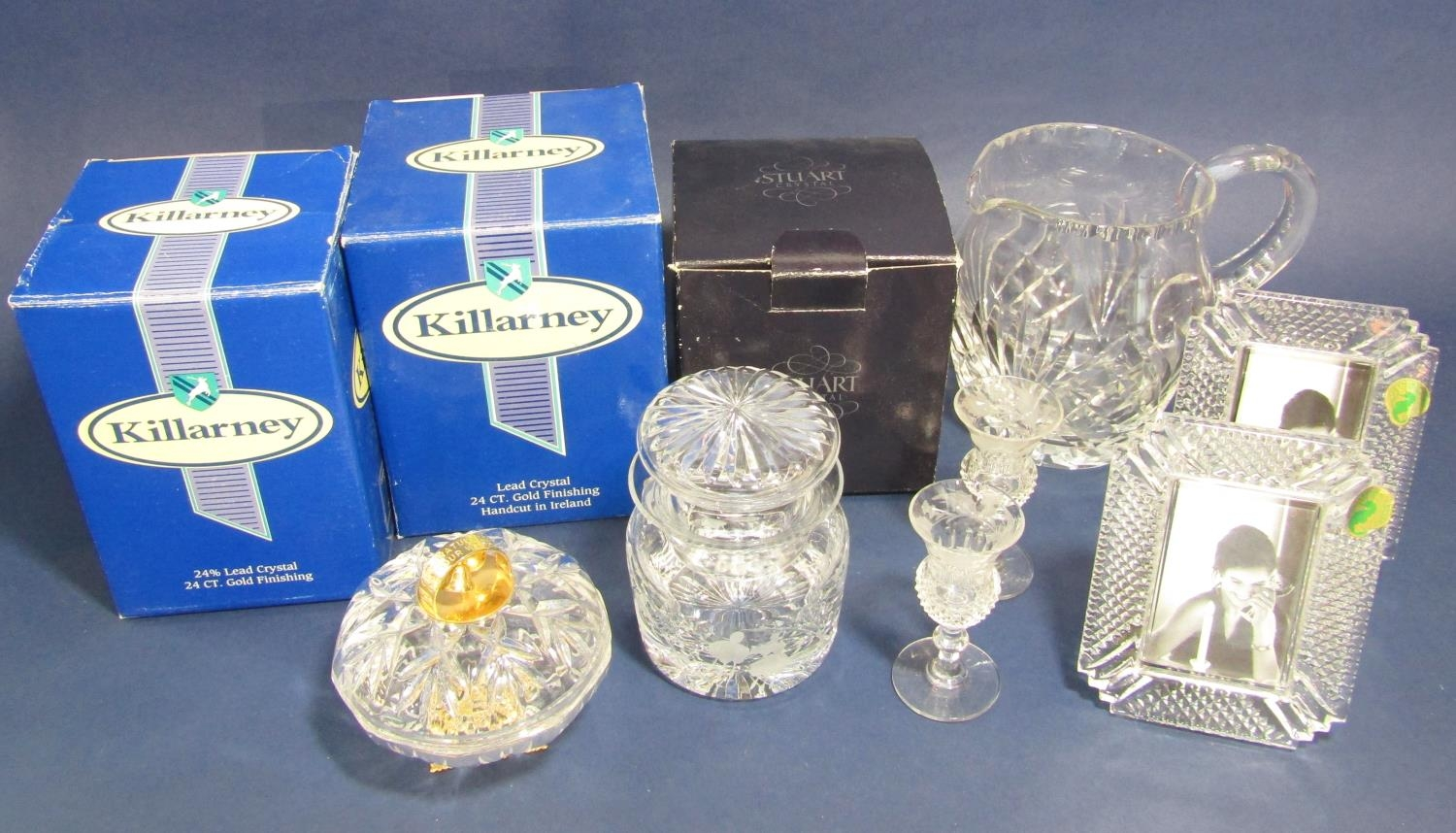 Two Waterford Crystal glass photograph frames, Stewart Crystal pickle pot and cover, two Killarney