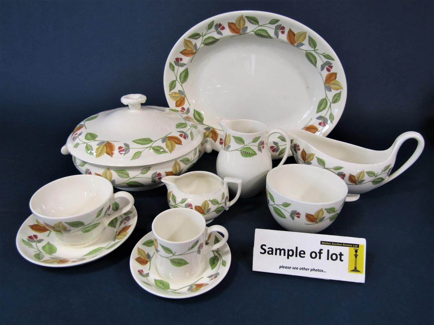 A collection of Wedgwood New Forest pattern wares comprising three two handled tureens and covers,