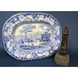 19th century Wild Rose pattern blue and white printed meat plate of oval form, 44cm long approx,
