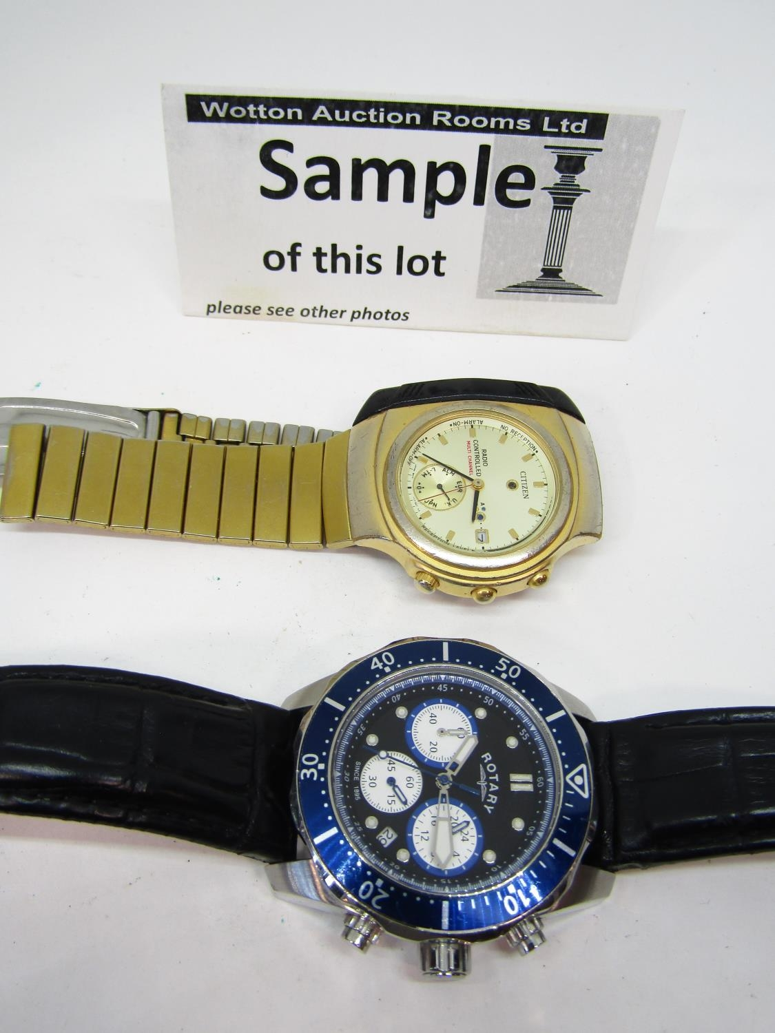 Four good vintage gents wristwatches to include a Rotary quartz divers watch with black dial and - Image 2 of 6
