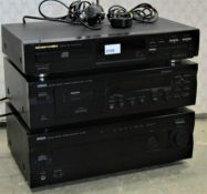 A separates hifi system comprising a Yamaha stereo cassette deck, KX-393, Yamaha Stereo Amplifier