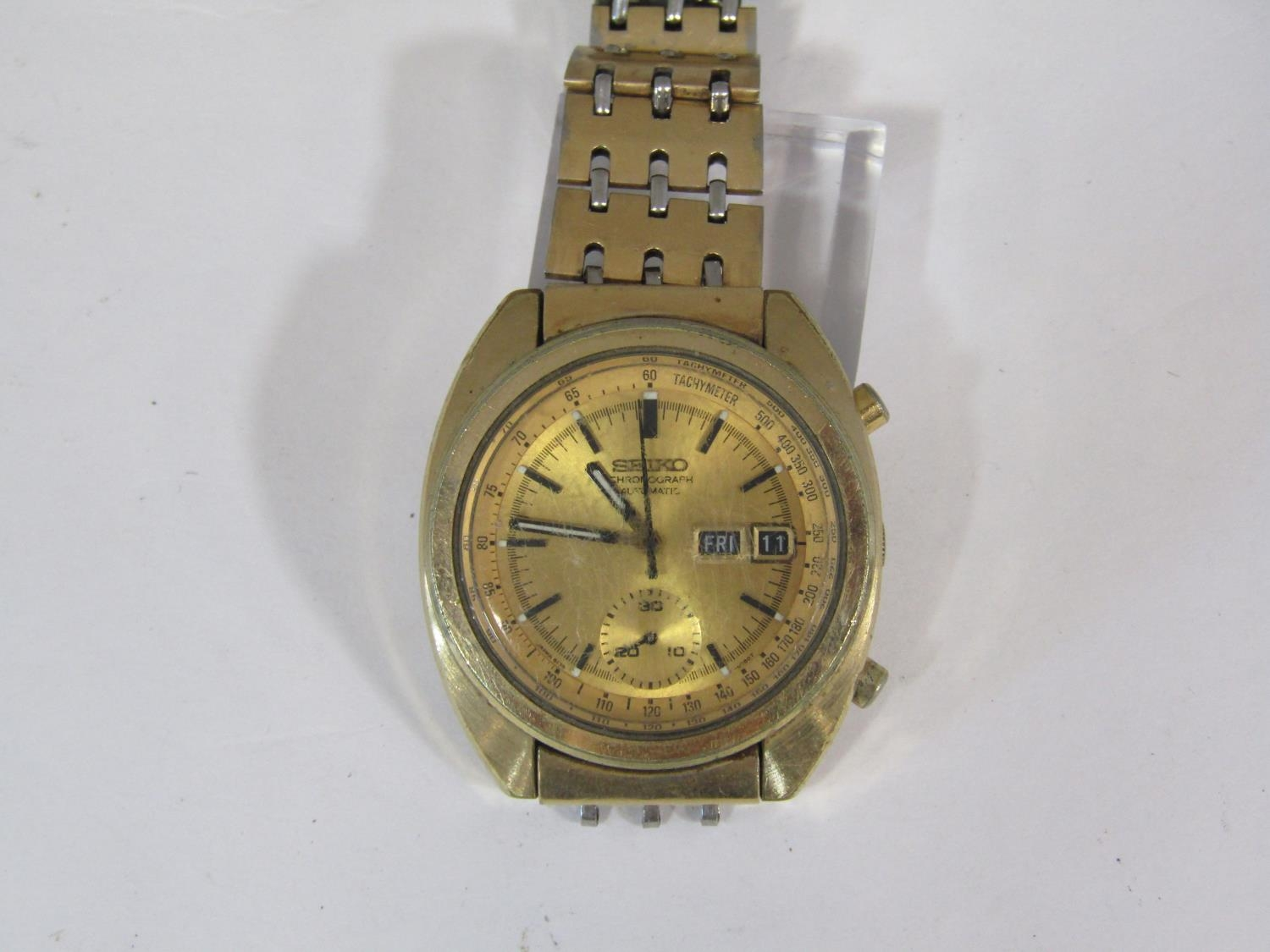 Vintage gent's Seiko chronograph automatic gold plated wristwatch, the gilt dial with black baton - Image 3 of 3