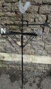 An iron work weather vane with cut sheet steel cockerel finial, 145cm high (including pole)