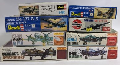 Collection of 9 model aircraft kits all 1:72 scale WW2 bombers and believed to be complete. Includes