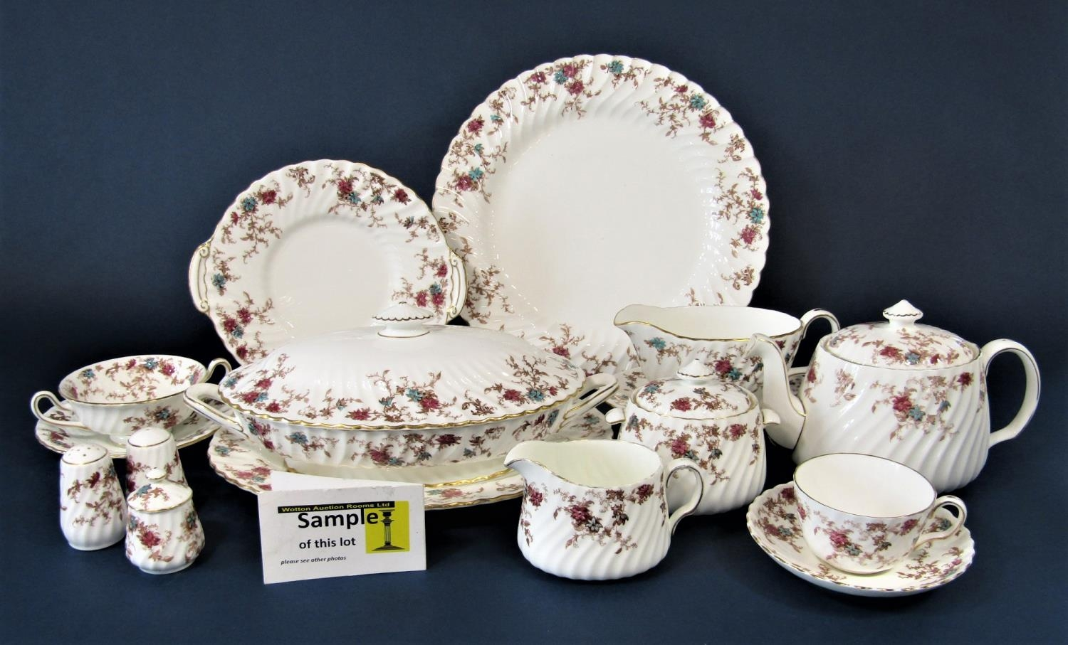 An extensive collection of Minton Ancestral pattern wares including a two handled tureen and