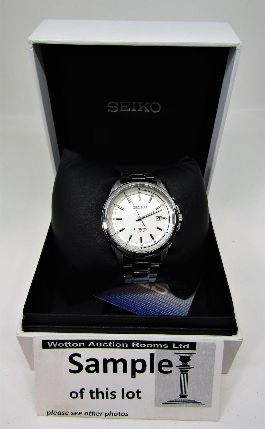 Three boxed fashion watches to include a Seiko kinetic 100m, with box and guarantee certificate, - Image 3 of 4