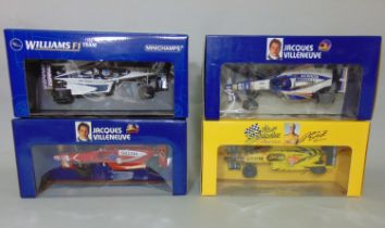 4 boxed Formula One 1:18 scale boxed model racing cars by Pauls Model Art including Jordan 198 R.