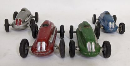 4 unboxed 1940's/50's toy cars 'The Mighty Midget Electric Racer' each with pressed metal shell