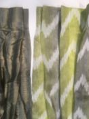 2 pairs of lightweight contemporary curtains, ex display and appear to be unfinished. First pair
