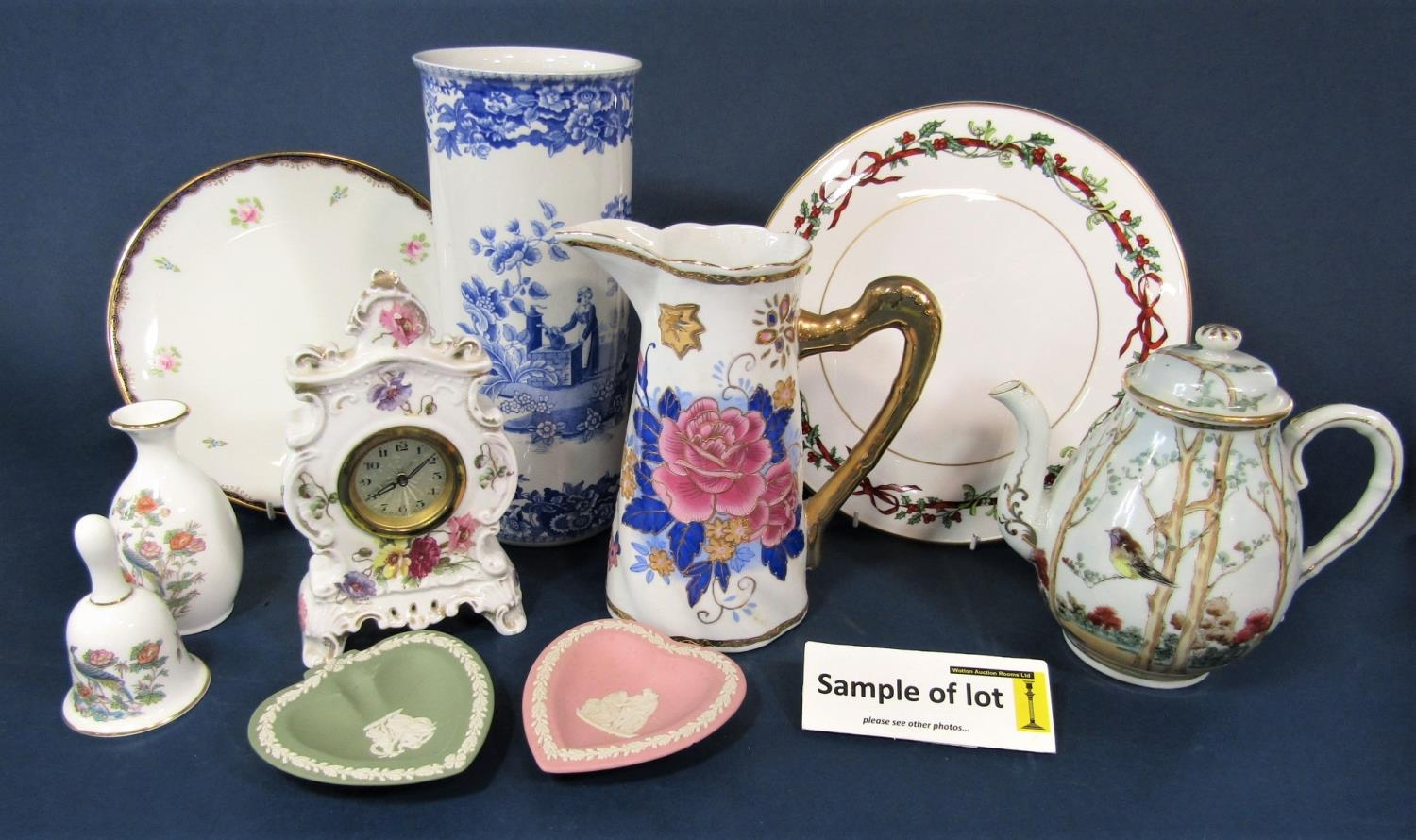 A collection of decorative ceramics including a Spode blue room collection girl at well pattern blue