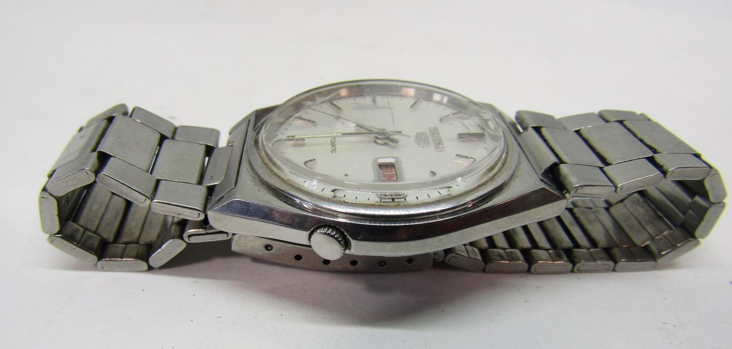 Vintage gent's Seiko 5 Actus Pepsi 21 jewels stainless steel wristwatch, currently running, 36mm - Image 4 of 8