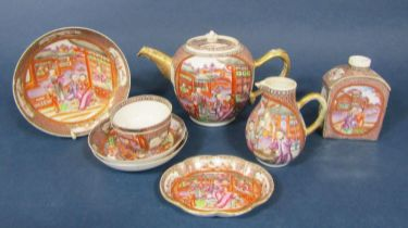 A collection of early 19th century mandarin ceramics with polychrome painted figure and other