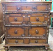 17th century and later block moulded chest of four long graduated drawer with split spindle