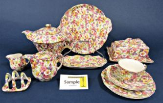 A quantity of James Kent DuBarry pattern Chintz wares and similar Apple Blossom pattern wares