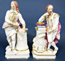 A pair of early 19th century Derby figures of Shakespeare and Milton, both standing beside columns