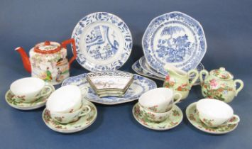 A collection of 19th century oriental blue and white ceramics including a dish of lozenge shaped