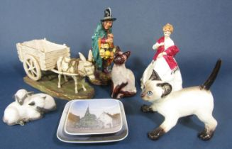 A Royal Doulton figure of the Mask Seller HN2103 together with a Royal Worcester figure 'First