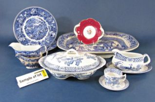 A quantity of Wood & Sons Yuan pattern blue and white printed wares comprising five oval graduated