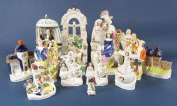 A 19th century Staffordshire figure of C H Spurgeon preaching from a pulpit, moulded title to