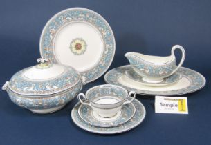 A quantity of Wedgwood Florentine pattern dinnerwares comprising two handled tureen and cover, two