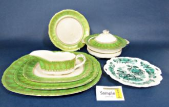 A collection of Ashworth Brothers ironstone dinnerwares with bright green and gilt border decoration