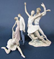 A Lladro matt glazed figure of a seated ballet dancer, 13.5cm tall approx, together with a Lladro