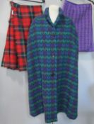 Welsh woollen cape in colourful tweed (double weave) by 'Cromayne' with pocket holes and button