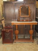 An Edwardian mahogany coal compendium, with fall front, a Victorian toilet mirror in mahogany and