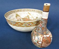 An unusual late 19th century Satsuma bowl with painted and gilded decoration of three male figures