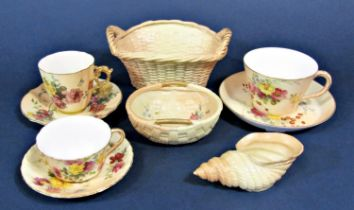A collection of Royal Worcester blush ivory wares comprising a two handled oval basket with puce