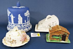 A large blue ground jasperware stilton dish and cover with classical figure detail and acorn knop,
