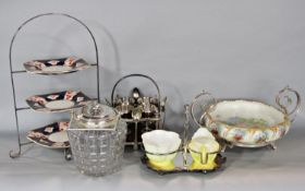 Good quality silver plate and oak egg cup holder with four supports and finials and four hung egg