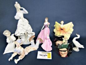 A collection of Royal Doulton figures including Top O' The Hill HN1834, Celeste HN3322, Lauren