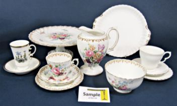 A quantity of Crown Staffordshire England's Bouquet pattern teawares comprising cake stand, cake