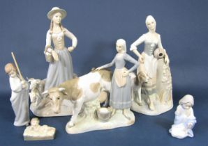 A collection of Spanish Zaphir ceramics in the Lladro style comprising a female shepherdess, 40cm