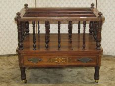 A Victorian rosewood and marquetry inlaid three divisional Canterbury with turned spindle mouldings