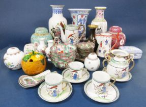 A collection of mainly reproduction oriental ceramics including various vases, Japanese eggshell