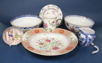 A collection of late 18th and early 19th century oriental ceramics including a Famille Rose barber's