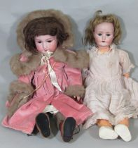 2 early 20th century German bisque head dolls, both with closing eyes and jointed composition