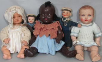 5 small vintage dolls including an unusual rubber headed baby doll by Kammer & Rheinhardt with