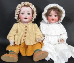 2 early 20th century German bisque head character dolls, both with a 5 piece bent limb composition