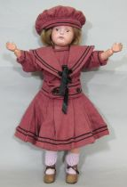 Early 20th century 'All Wood Perfection Art Doll' by Schoenhut, made in Philapelphia, having a solid