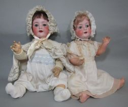2 bisque head character dolls with heads made in Koppelsdorf Germany by Heubach, circa 1920's,